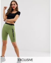 Ellesse Recycled legging Shorts With Side Logo And Buckle Belt - Green