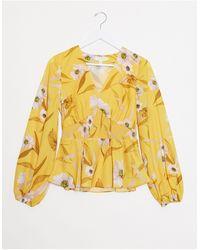 Ted Baker Желтая Блузка С Цветочным Принтом И Присборенной Талией -желтый