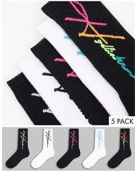 Hollister Confezione da 4 paia di calzini bianchi/neri con logo - Bianco