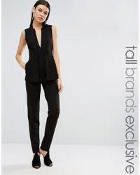 Taller Than Your Average - Ttya Black Kiren Sleeveless Two In One Blazer Overlay Tailored Jumpsuit - Lyst