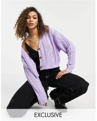 Reclaimed (vintage) - Inspired Cropped Cable Cardigan - Lyst