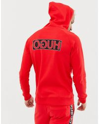 HUGO - Darti Reverse Back Logo Hooded Sweat In Red - Lyst