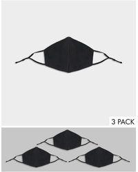 ASOS – 3er-Pack dreilagige Gesichtsmasken - Schwarz