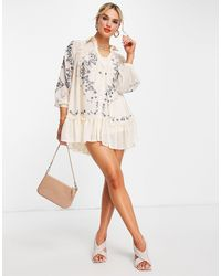 ASOS Soft Mini Smock Shirt Dress With Embroidery - Multicolor