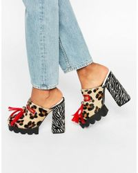 House of Holland - Leopard Print Cleated Mule Heeled Shoes - Lyst