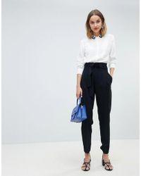 Mango - Paper Bag Waist Tapered Trouser - Lyst