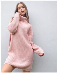 In The Style Розовое Трикотажное Платье-джемпер Oversized С Круглым Вырезом X Billie Faiers-розовый