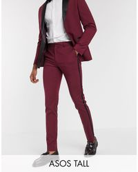ASOS Tall Skinny Tuxedo Suit Trousers - Red