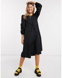 Monki Florentina Poplin Trapeze Maxi Dress With Draw Cord - Black