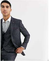 Burton Skinny-fit Blazer Met Prince Of Wales-ruit - Grijs