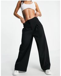 Pimkie Wide Leg Tailored Trousers - Black