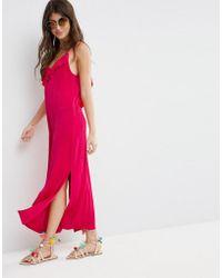 ASOS - Slinky Maxi Dress With Asymmetric Frill Detail - Lyst