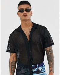 ASOS - Two-piece Oversized Mesh Shirt In Black - Lyst
