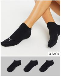 PUMA Pack de 3 pares de calcetines deportivos invisibles en negro de
