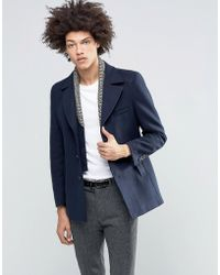 Féraud Gianni Premium Reefer Coat With Detachable Geo Knitted Insert - Blue