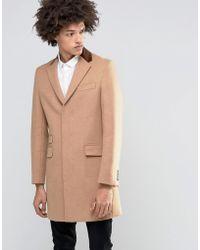 Féraud Gianni Premium 80% Italian Melton Wool Coat With Velvet Collar - Brown