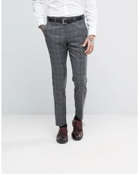 Féraud Gianni Heritage Premium Wool Check Suit Trousers - Grey