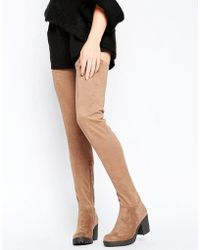 Glamorous Thigh High Taupe Chunky Heeled Over The Knee Boots - Brown