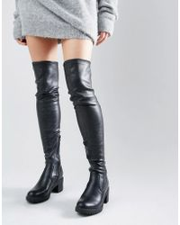 Glamorous Thigh High Chunky Heeled Over The Knee Boots - Black