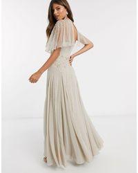 ASOS Vestido largo con espalda drapeada y adorno floral delicado en color topo - Multicolor