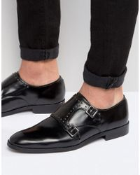 ASOS - Monk Shoes In Black Leather With Studs - Lyst