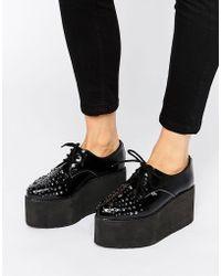 T.U.K. - . Stack Stud Mega Flatform Leather Shoes - Lyst