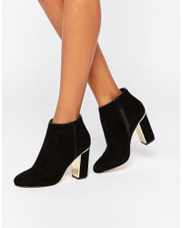 Lipsy | Gold Detail Heeled Ankle Boots | Lyst
