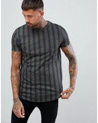 Boohoo - Longline T-shirt With Curve Hem In Khaki Stripe - Lyst