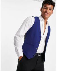 Original Penguin Slim Fit Plain Waistcoat - Blue