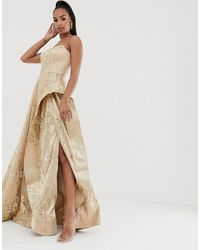 Bariano Strapless Glitter Ballgown In Rose Gold - Gray