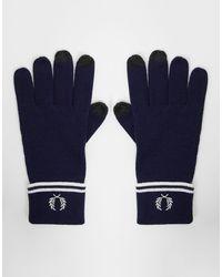Fred Perry Темно-синие Перчатки Для Сенсорных Экранов Из 100% Мериносовой Шерсти -темно-синий