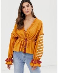 Y.A.S Festival Embroidered Volume Sleeve Top - Brown