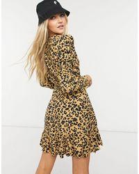 TOPSHOP Animal Print Mini Wrap Dress - Multicolor