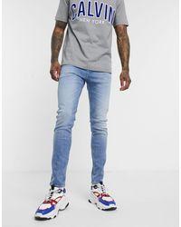 Calvin Klein Выбеленные Джинсы Скинни -синий