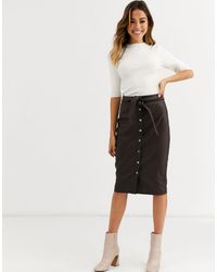 Oasis Faux Leather Midi Pencil Skirt - Brown
