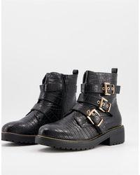 Miss Selfridge Biker Boots With Buckle Detail - Black