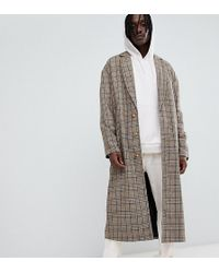 The New County - Longline Overcoat In Brown Check - Lyst