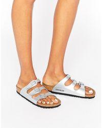8aa067633cc7 Birkenstock - Florida Silver Narrow Fit Flat Sandals - Lyst