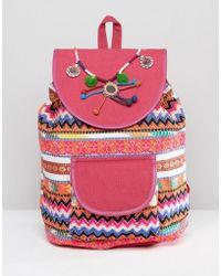 Glamorous Bright Print Backpack With Pom & Tassel Detail - Pink