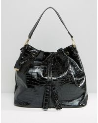 Glamorous Drawstring Backpack In Moc Croc - Black