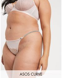 ASOS Asos Design Curve Sophia Tanga Thong With Lace & Diamonte Strap-pink - Natural