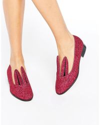 Minna Parikka Pink Glitter Bunny Ear Loafers - Multicolour