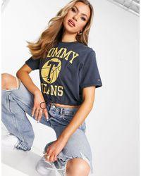 Tommy Hilfiger - Boxy Cropped Logo T-shirt - Lyst
