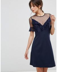 Elise Ryan A Line Mini Dress With Lace Frill & Fluted Sleeve - Blue
