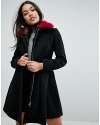 ASOS - Skater Coat With Bright Faux Fur Collar - Lyst