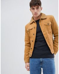 Solid Cord Trucker In Tan With Fleece Collar - Brown