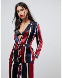 Y.A.S - Striped Blazer With Waist Belt - Lyst