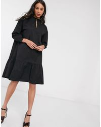 Object High Neck Tiered Midi Smock Dress - Black