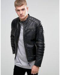 Pepe Jeans Pepe Paul Slim Leather Biker Jacket - Black