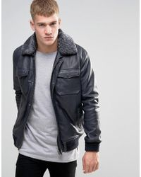 Pepe Jeans Pepe Conduit Leather Bomber Jacket Shearling Collar Navy - Blue